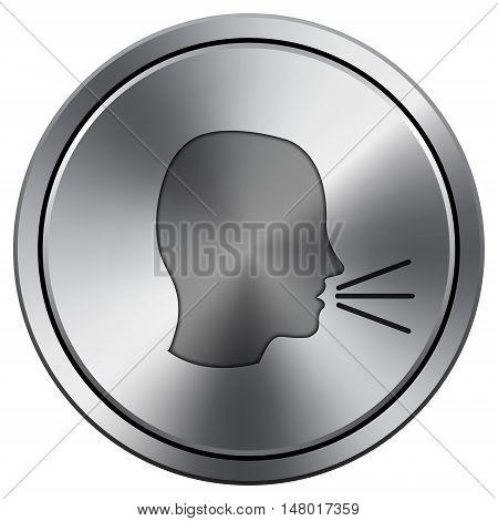 Talking Icon. Round Icon Imitating Metal.