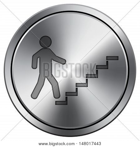 Businessman On Stairs - Success Icon. Round Icon Imitating Metal.