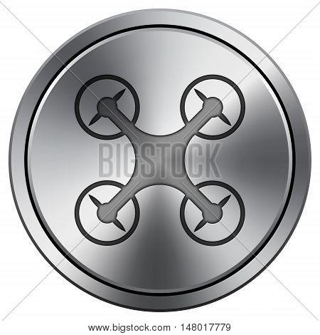 Drone Icon. Round Icon Imitating Metal.