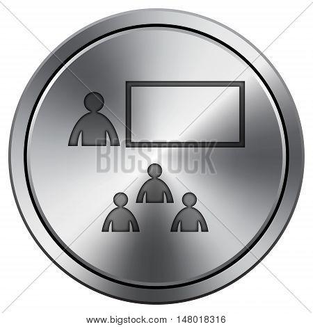 Presenting Icon. Round Icon Imitating Metal.