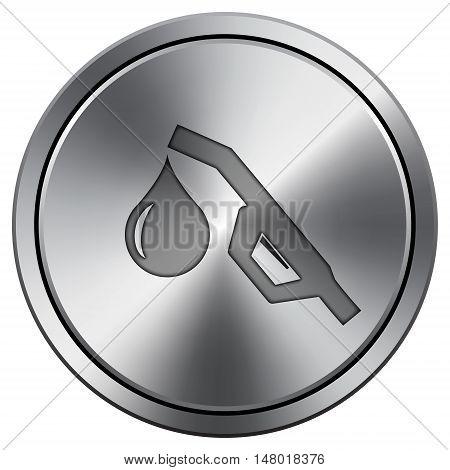 Gasoline Pump Nozzle Icon. Round Icon Imitating Metal.