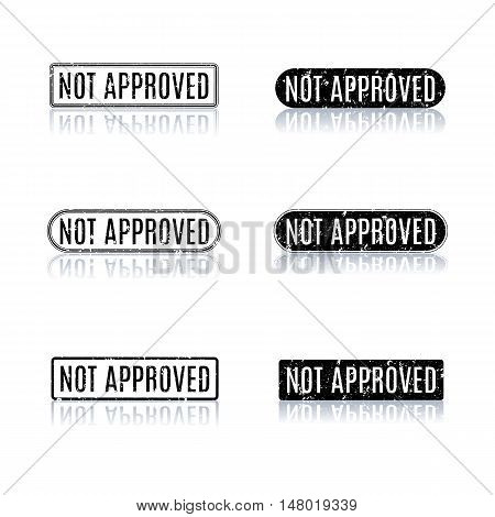 Set of black rectangular stamps not approved with mirror reflection isolated on white background vector illustration.