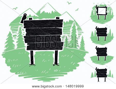 Cartoon wooden sign on mountain meadow. 4 additional versions included.