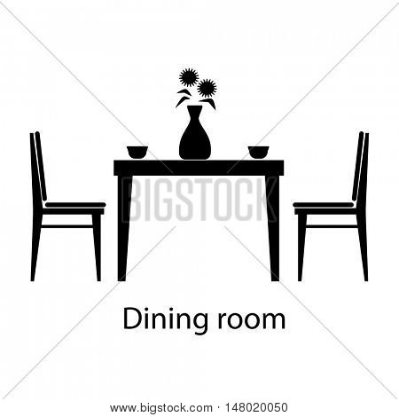 Home and hotel dining room interior with furniture. Line vector icon illustration