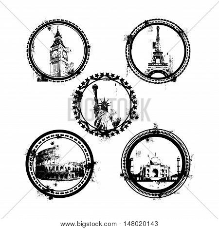 World Famous monuments and landmarks with symbols stamps