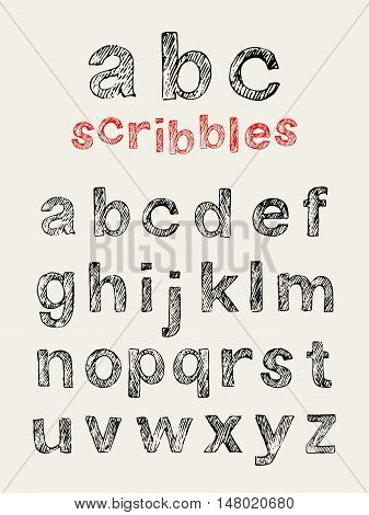 Hand drawn scribbled english lowercase alphabet. Vector doodle letters.