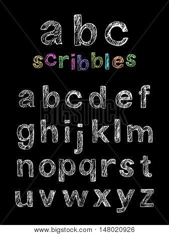 Set of hand drawn doodle letters alphabet. English lowercase scribbled nonserif font.
