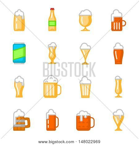 Beer glassware or beer glasses and beer packaging flat icons. Vector illustration