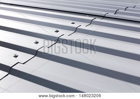 Corrugated Metal Cladding On Industrial Building Roof
