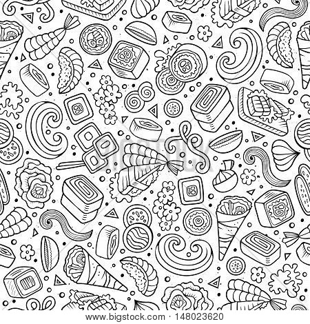 Cartoon cute hand drawn Japan food seamless pattern. Line art with lots of objects background. Endless funny vector illustration. Sketchy backdrop with japanese cuisine symbols and items