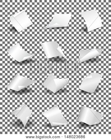Empty paper sheets on transparent background vector illustration. Paper sheet twisted and set of page paper template
