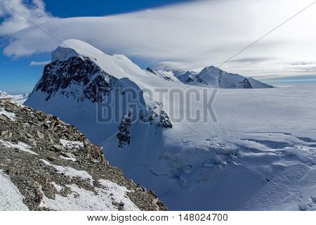 Amazing Winter Landscape of swiss Alps and mount Breithorn, Canton of Valais, Switzerland