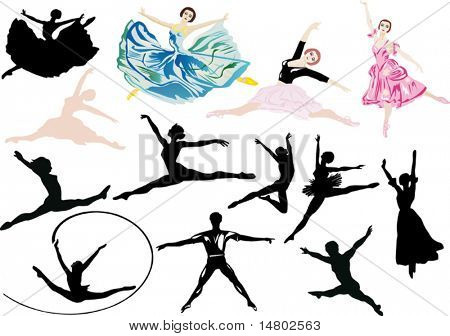 illustration with ballet dancers isolated on white background