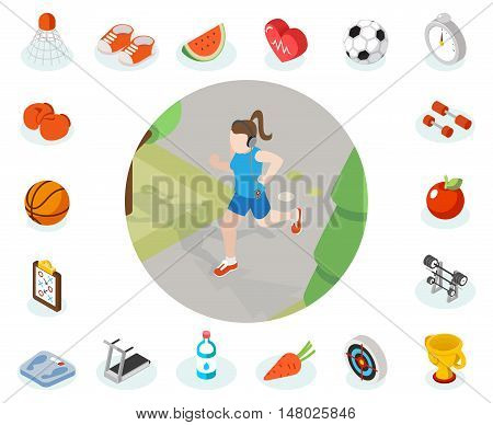Isometric healthy lifestyle vector concept. Healthy and sport icon, illustration woman healthy lifestyle