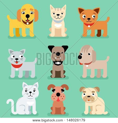 Puppy and kitten vector pet flat icons. Muzzle of cat and dog, illustration set of mammal best friend dog and cat