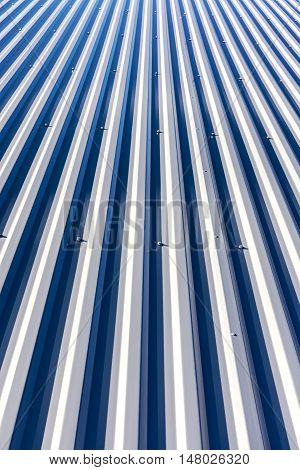 New Corrugated Metal Roof On Top Of Industrial Building