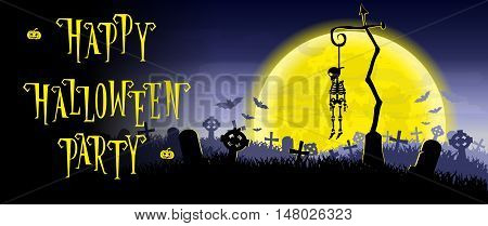 Halloween background. Skeleton hung on a pole in the old cemetery backdrop on scary moon and graves. Concept for banner poster flyer cards or invites on party. Cartoon style. Vector illustration