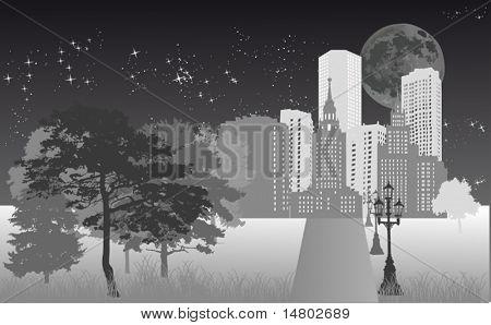 illustration with night city under star sky