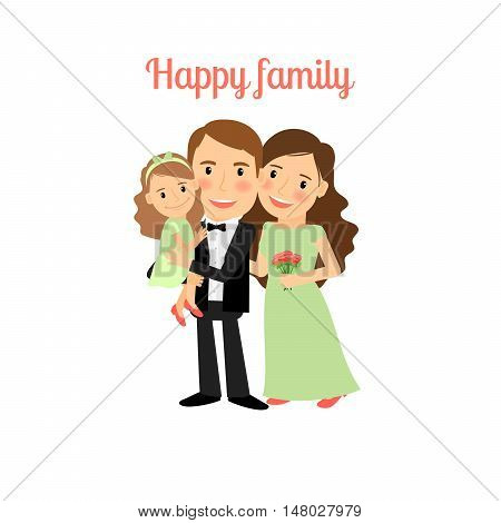 Happy family with young daughter isolated vector illustration