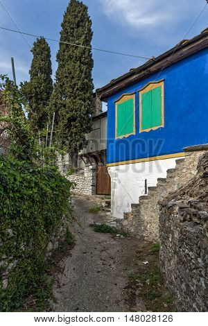 Old colored house in the village of Theologos,Thassos island, East Macedonia and Thrace, Greece