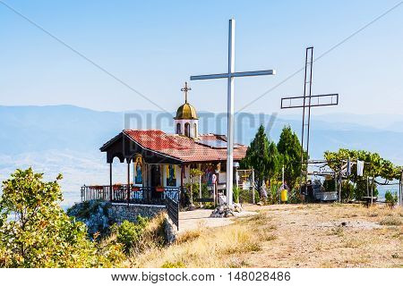 Chapel of the Ascension on top of the mountain near Gotse Delchev
