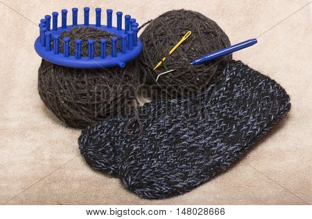 two coil gray natural wool for knitting socks and slippers on circular loom