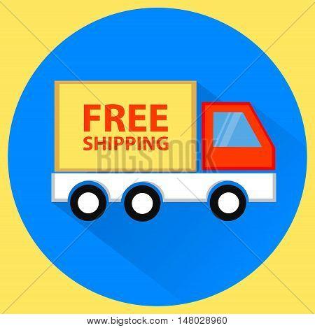 Free shipping goods truck, online shopping, vector illustration, flat design