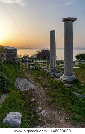 Sunset on Evraiokastro Archaeological Site, Thassos town, East Macedonia and Thrace, Greece
