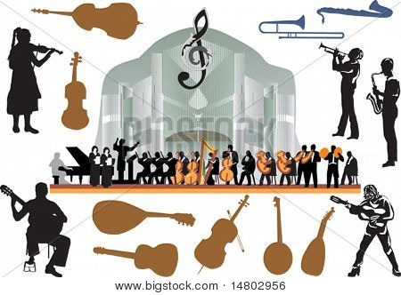 illustration with large orchestra on white background
