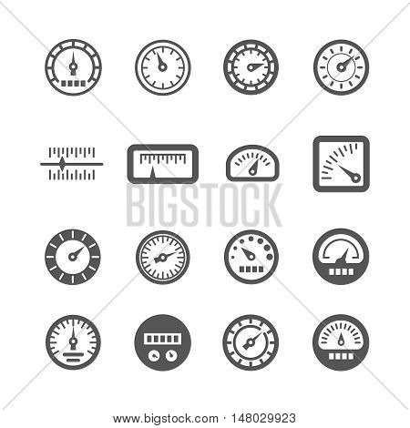 Meter, control panel, speedometer vector icons set. Measurement device for car illustration