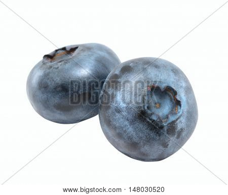 Two blueberry isolated on the white background