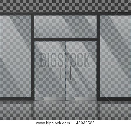 Glass store facade vector illustration. Transparent front for office or boutique, clear showcase facade window