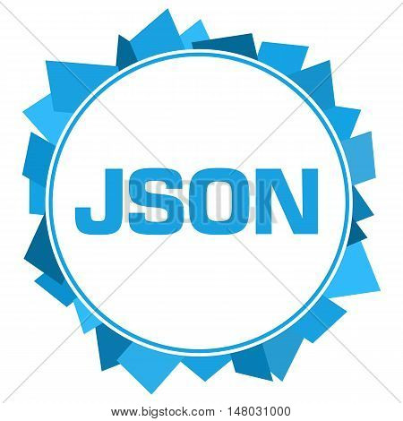 JSON text written over colorful blue background.