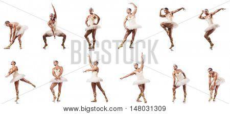 Man in ballet tutu isolated on white