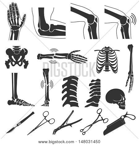 Orthopedic and spine vector black symbols. human bones icons. Hand and leg, skull and joint knee illustration