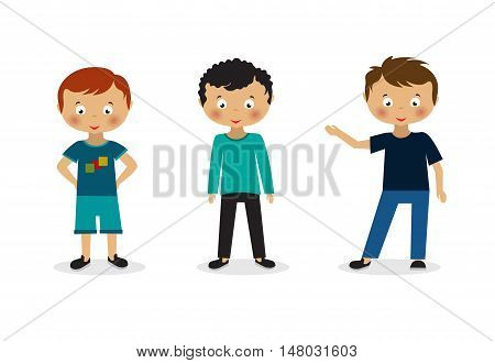 Group of happy children. Isolated on white background.