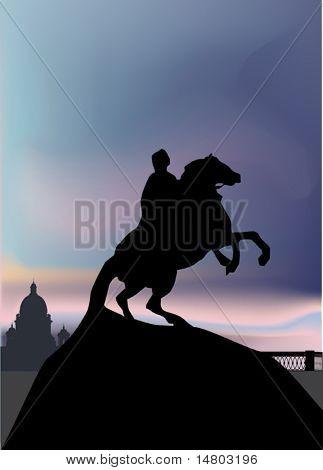 Illustration with The Bronze Horseman in Saint-Petersburg