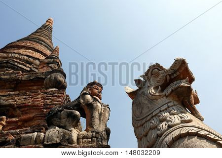 Buddhist animal statues at a temple near Mandalay, Burma