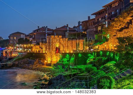 Amazing Night photo of reconstructed gate part of Sozopol ancient fortifications, Bulgaria