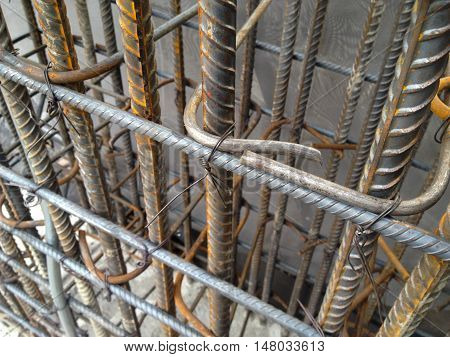 Rebar steel for construction building at site