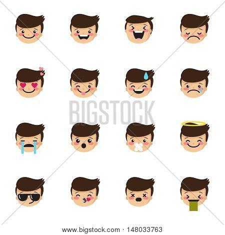 Vector boy emoticons collection. Cute little kid emoji set