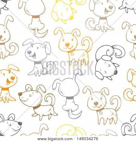 Seamless pattern with cute cartoon dogs on white  background. Little puppies. Funny animals. Vector contour colorful image. Children's illustration.