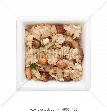 Steamed glutinous rice in a square bowl isolated on white background