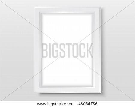 Picture Frame On Wall Simple Mock Up Vector White