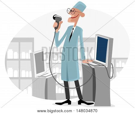 Vector illustration of a doctors with ultrasound