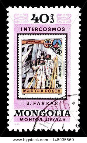 MONGOLIA - CIRCA 1980 : Cancelled postage stamp printed by Mongolia, that shows Cosmonauts.