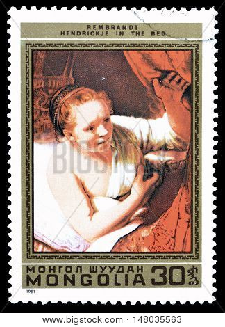 MONGOLIA - CIRCA 1981 : Cancelled postage stamp printed by Mongolia, that shows Painting by Rembrandt.