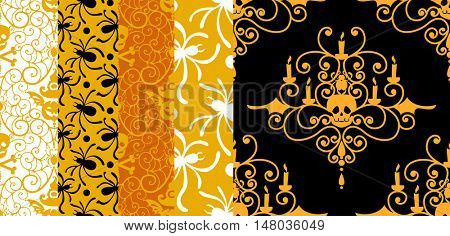 Happy Halloween background. Set of seamless patterns with traditional holiday symbols skulls, spider on web. Collection vector illustrations.
