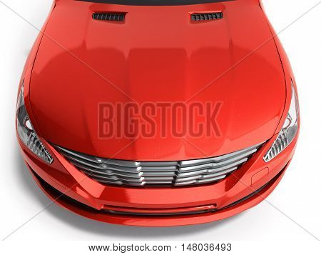 Car Vehicle Bonnet Hood Aerial Above Top View 3D Render