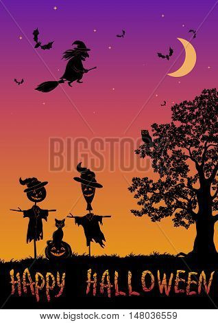 Halloween Landscape with Inscription, Black Silhouettes Witch on a Broom and Bats in Sky, Oak Tree with Owl, Pumpkin Jack-O-Lantern, Scarecrows and Cat. Vector